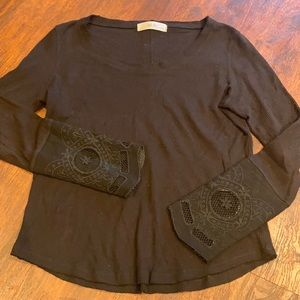 ABLE Cotton crewneck fancy cuff thermal long sleeve T sm